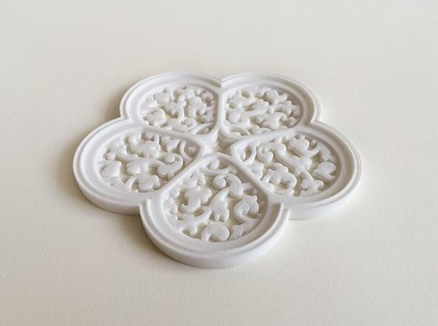 Cinquefoil Coaster in White Natural Versatile Plastic