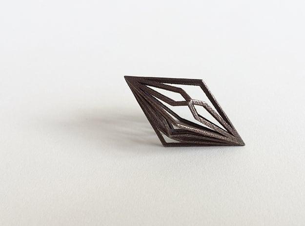 Diamond Pendant mk2 in Polished Bronze Steel
