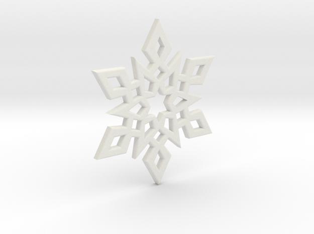 Snowflake Charm 2 in White Natural Versatile Plastic