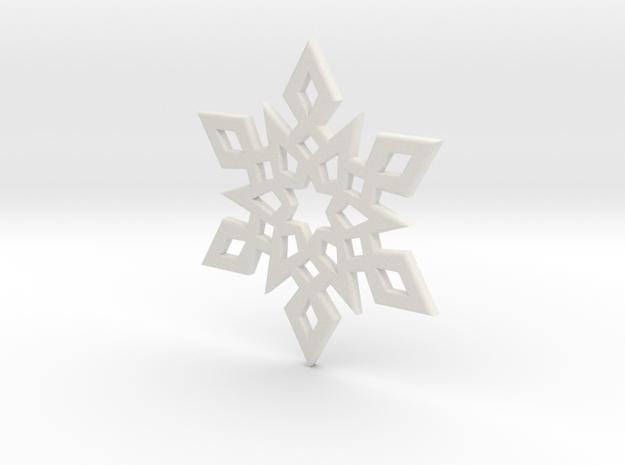 Snowflake Pendant 2 in White Natural Versatile Plastic