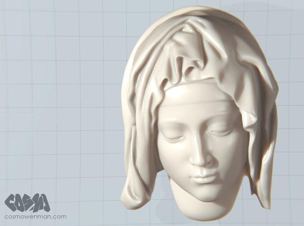 Michelangelo's Pietà, detail of Mary in White Natural Versatile Plastic