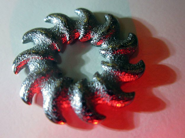 O-waves 11 - 2cm in Polished Bronzed Silver Steel