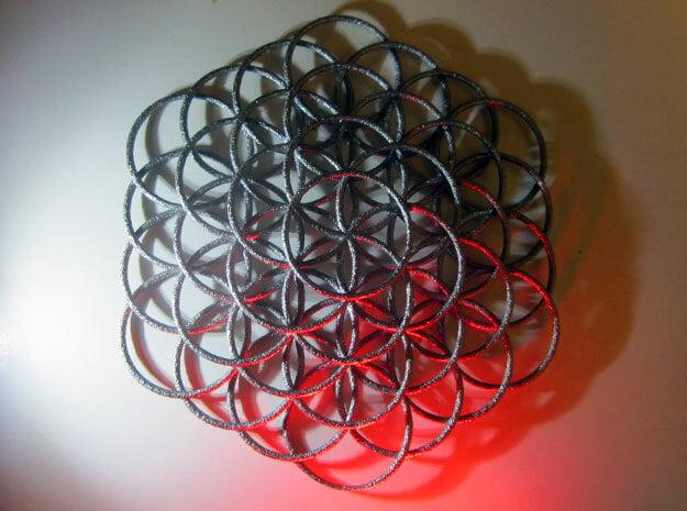 Flower Of Life Weave - 8cm  in Polished Nickel Steel