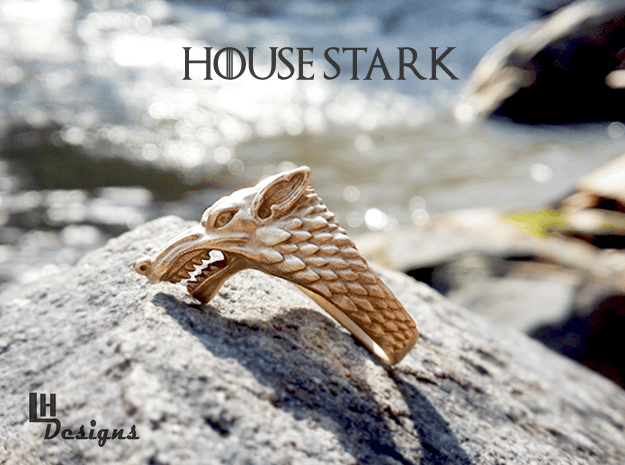 Size 13 Direwolf Ring in Natural Bronze: 13 / 69