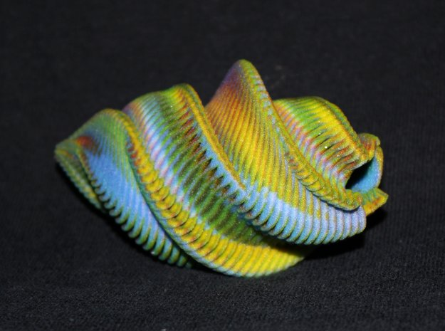 Mathematical Mollusca - Spiraling Organic Shell in Full Color Sandstone