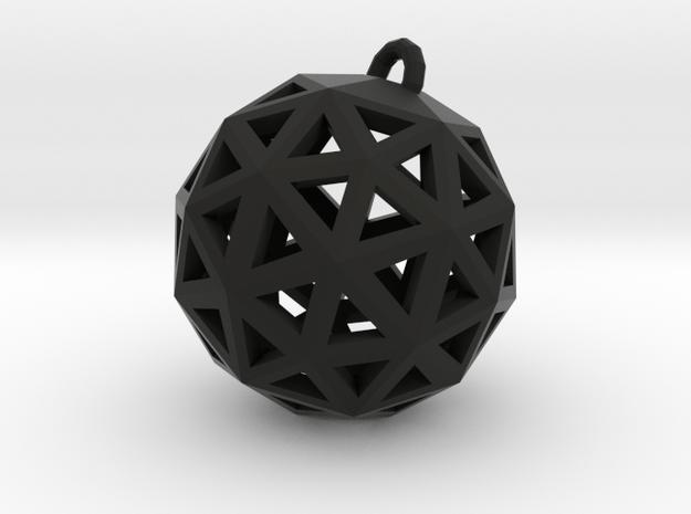 Geo Pendant in Black Natural Versatile Plastic