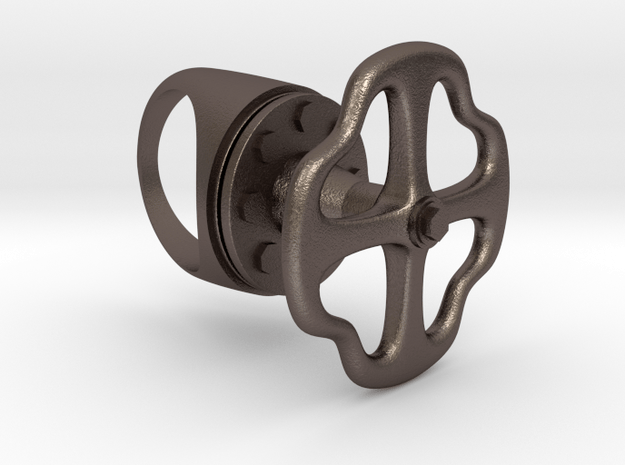 Valve ring in Polished Bronzed Silver Steel