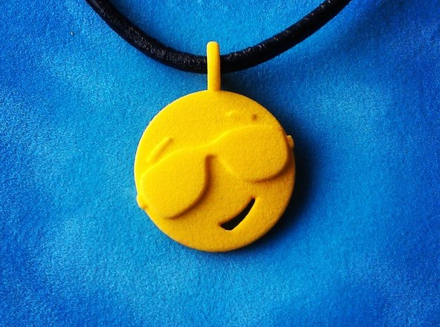 'Sunny' Yellow Plastic Sun Pendant in Yellow Processed Versatile Plastic