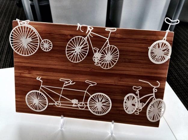 Five Bikes: Wire Wall Art in White Natural Versatile Plastic