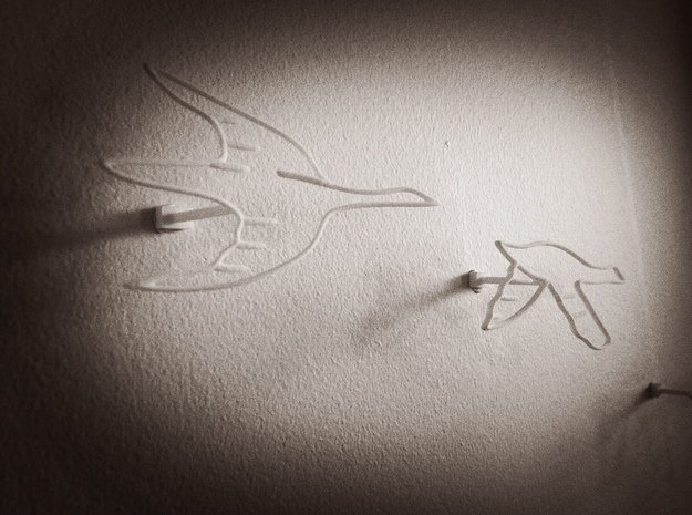 Flock of Birds: Wire Wall Art in White Natural Versatile Plastic