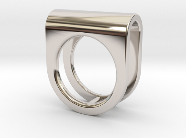 SADDLE RING - SIZE 7 in Rhodium Plated Brass