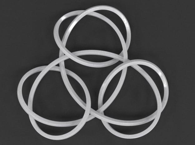 Trinity Knot Pendant in White Processed Versatile Plastic