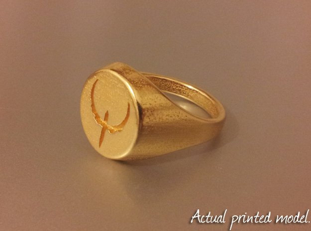 Quake Live signet ring. US size 14   UK size Z3 in Polished Bronzed Silver Steel