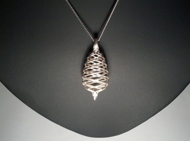 Raindrop in Motion Pendant 2 in Polished Silver