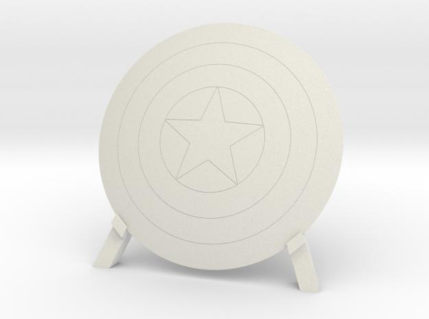 Captain America, Shield & Stand in White Natural Versatile Plastic