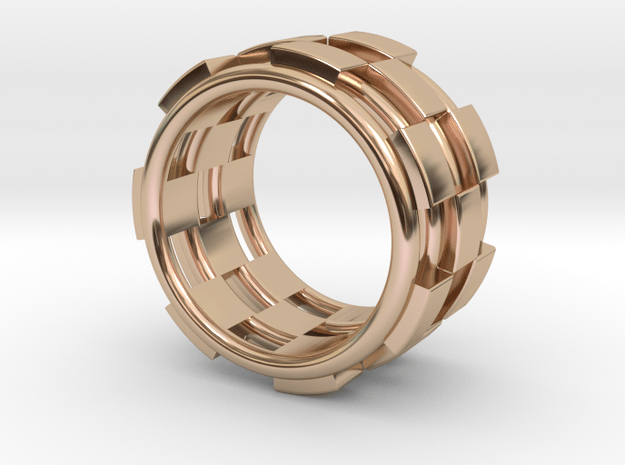 CHECKMATE RING SIZE 7 in 14k Rose Gold Plated Brass