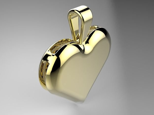 Double heart pendant in Polished Brass