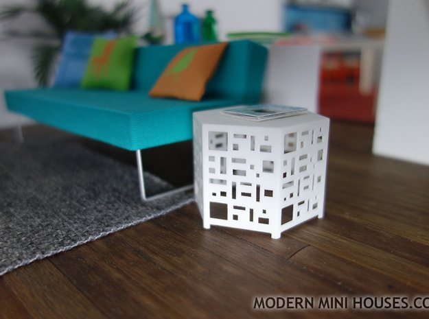 Casablanca Side Table 1:12 scale dollhouse in White Processed Versatile Plastic