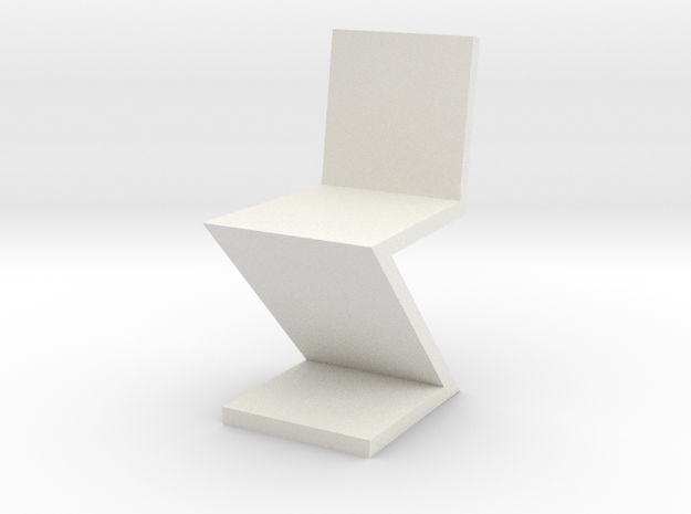 1:24 Zig Zag Chair in White Natural Versatile Plastic