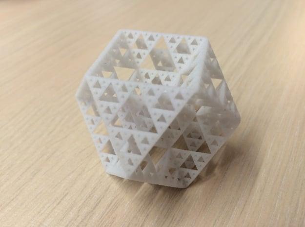 Sierpinski Cuboctahedron Fractal in White Natural Versatile Plastic