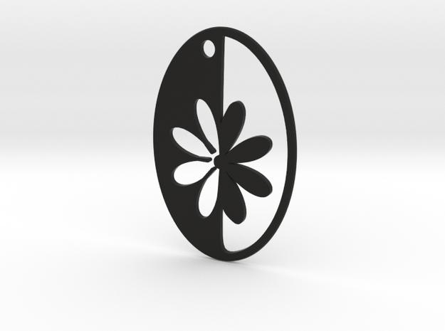 Simple Flower pendant in Black Natural Versatile Plastic