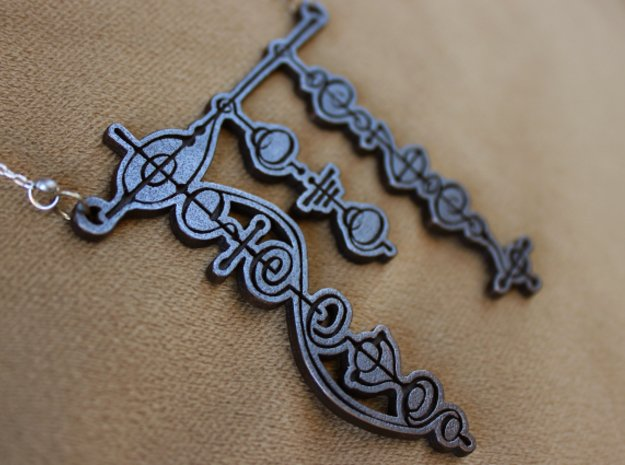 """""""Live Long and Prosper"""" Vulcan Script Pendant in Polished and Bronzed Black Steel"""