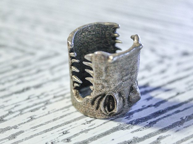 Gator Ring (US Size 8) in Polished Bronzed Silver Steel