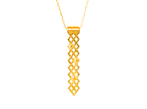 Diamonds Pendant in Polished Gold Steel