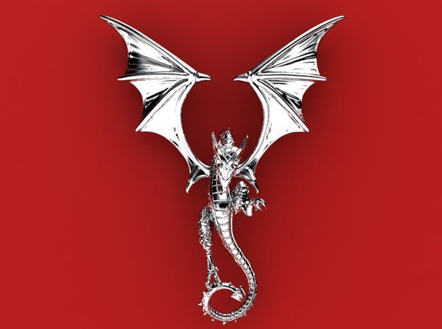 The Wyvern pendant.  in Polished Silver