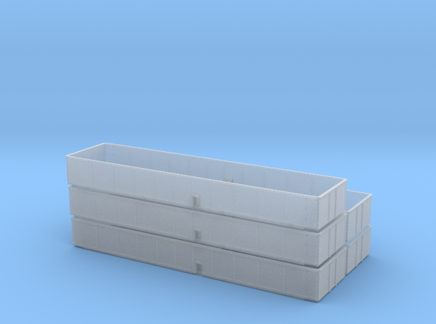 HO SAL 3-bay hopper extension - 5 Pack in Smooth Fine Detail Plastic