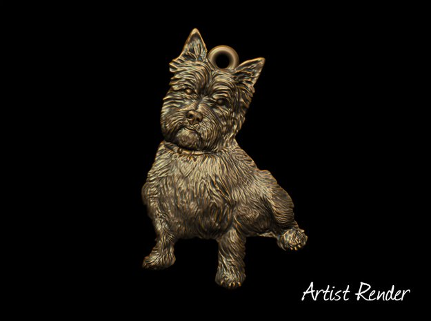 Cairn Terrier Keyfob in White Natural Versatile Plastic