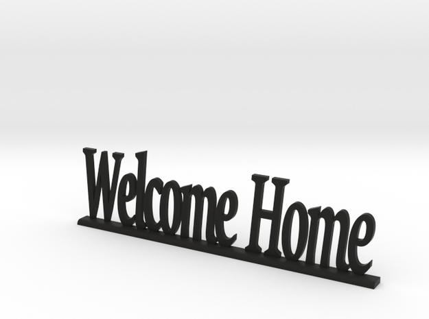 """Letters 'Welcome Home' - 7.5cm / 3"""" in Black Natural Versatile Plastic"""