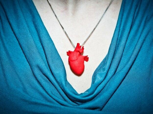 Anatomical Heart Hanger Pendant in Red Processed Versatile Plastic
