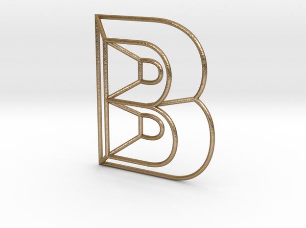 B Typolygon in Polished Gold Steel
