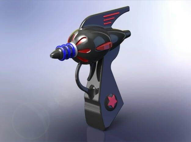 Retro Raygun in Black Natural Versatile Plastic