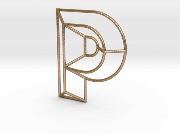 P Typolygon in Polished Gold Steel