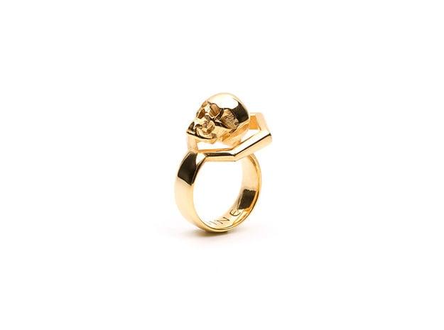 Hexa Skull Ring in 18K Gold Plated