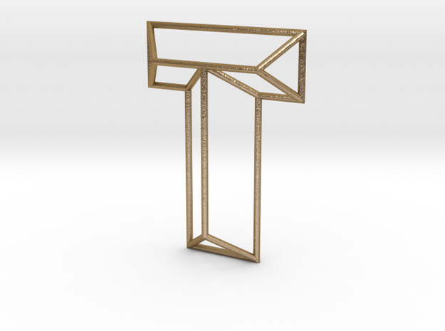 T Typolygon in Polished Gold Steel