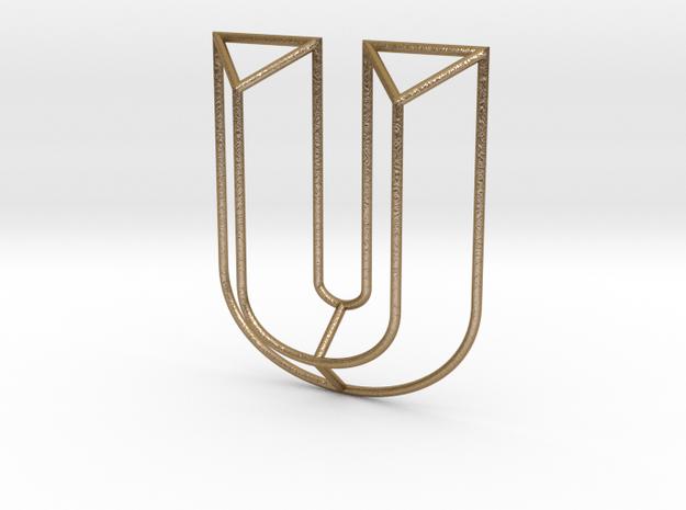 U Typolygon in Polished Gold Steel