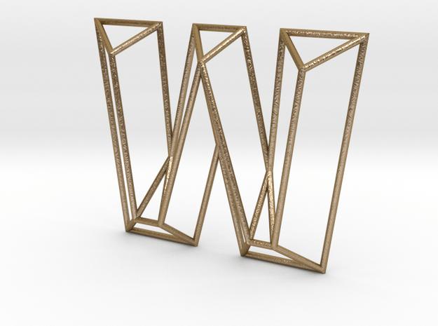 W Typolygon in Polished Gold Steel