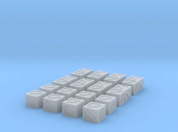 16 Crates for 6mm, 1/300 or 1/285 in Smooth Fine Detail Plastic