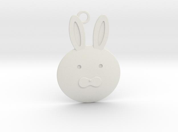 Happy Grief Bunny Pendant in White Natural Versatile Plastic
