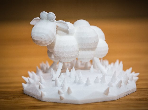 Funky sheep in a patch of funky grass in White Natural Versatile Plastic