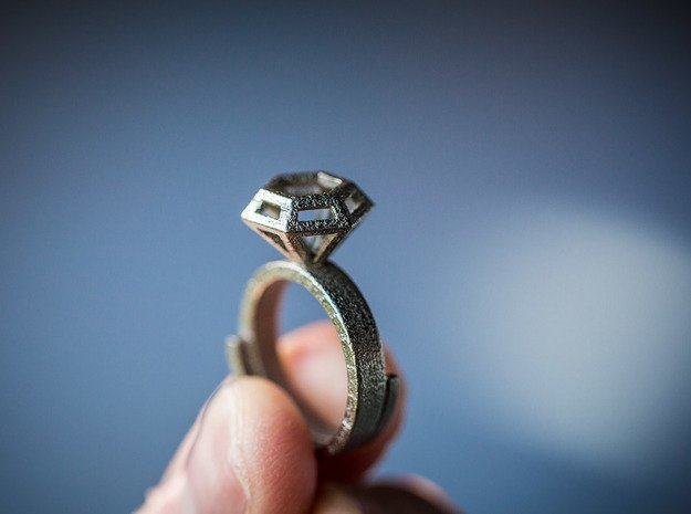 Diamond Ring US 7 3/4 in Polished Nickel Steel