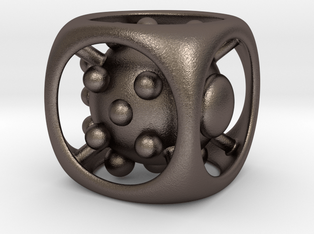 Dice No.1 L (balanced) (3.6cm/1.42in) in Polished Bronzed Silver Steel