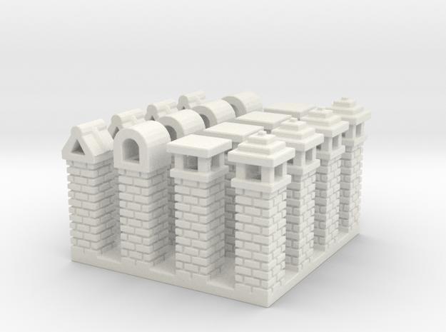 Rustic Italian Chimneys (16) N Scale in White Natural Versatile Plastic