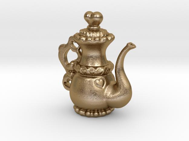 Lolita Heart Teapot Pendant in Polished Gold Steel