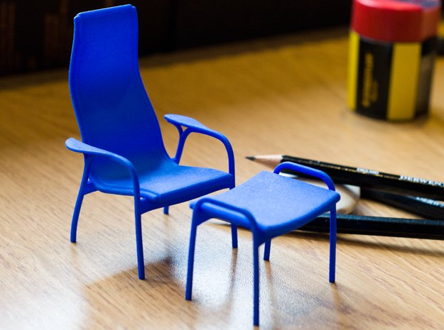 Lamino Style Chair & Stool 1/12 Scale in Blue Processed Versatile Plastic