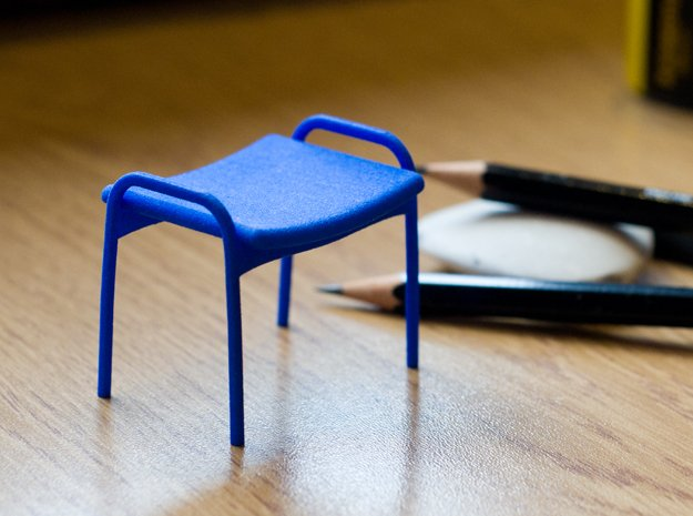 Lamino Style Stool 1/12 Scale in Blue Processed Versatile Plastic