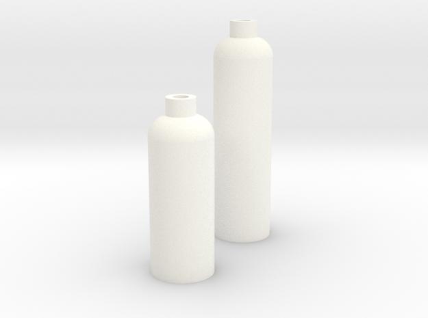 2 Modern Bottle Vases Large and Short in White Processed Versatile Plastic